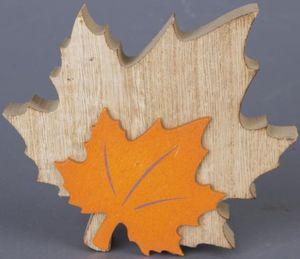 Standdeko - Herbstlaub - aus Holz - 13 x 11 x 2,5 cm