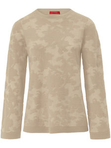 Rundhals-Pullover floralem Strickmuster Laura Biagiotti Donna beige