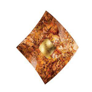 EEK A, Wandleuchte Quadrangolo Herbst - Metall / Glas - Gold / Bernstein - 2-flammig, Hans Kögl
