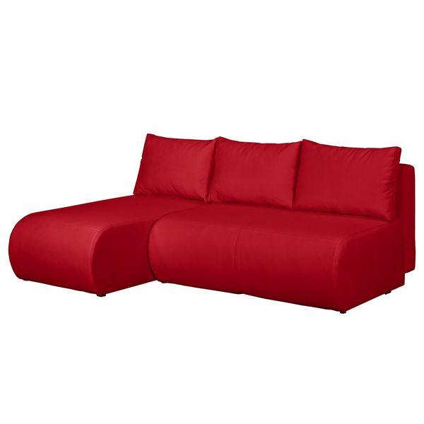 Ecksofa Rio Maria Mit Schlaffunktion Strukturstoff Longchair Davorstehend Links Rot Fredriks