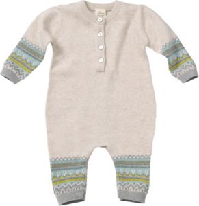 ALANA Baby-Strickoverall, Gr. 68, in Bio-Baumwolle, beige, bunt, für Mädchen und Jungen