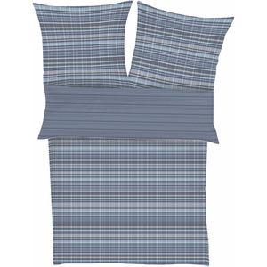 Ibena Satin-Bettwäsche Streifen, 135x200, stahlblau