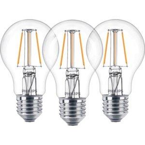 Philips LED-Lampe Glühlampenform 3er-Pack E27/ 4,3 W (470 lm) Warmweiß EEK: A++