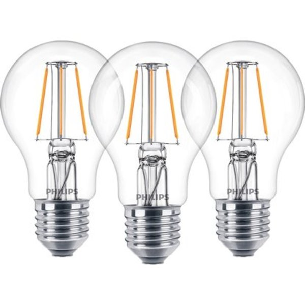 Philips LED-Lampe Glühlampenform 3er-Pack E27/ 4,3 W (470 lm ...