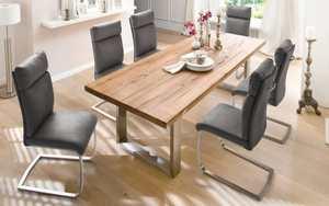 MCA furniture - Stuhlgruppe Rabea/Castello in grau/Eiche bassano