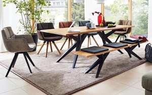 Stuhlgruppe Tamina in Charaktereiche massiv/Eisen schwarz