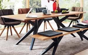 Design-Tisch Tamina in Charaktereiche massiv/Eisen schwarz