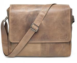 Vethor Umhängetasche Messenger Bag bis 15 Zoll aus Leder