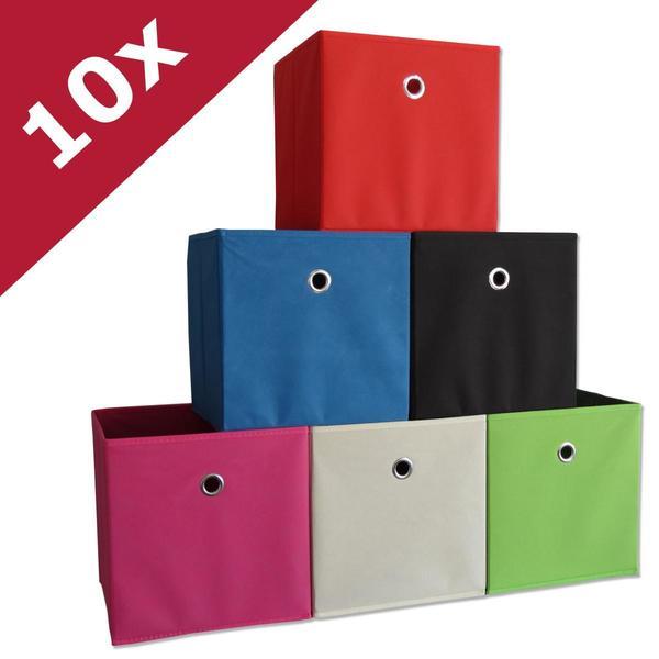 VCM 10er-Set Klappbox Boxas Weiß-Natur