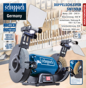 Scheppach Doppelschleifer SM150LB
