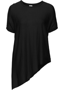 Kurzarm Feinstrick-Pullover mit asymmetrischem Saum