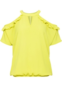 Cold-Shoulder-Bluse mit Volants