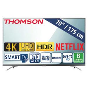 """70""""-Ultra-HD-LED-TV 70UD6406 HbbTV, H.265, HDR, 3 HDMI-/2 USB-Anschlüsse, CI+, Stand-by: 0,4 Watt, Betrieb: 249 Watt, Maße: H 91,1 x B 156,4 x T 7,6 cm, Energie-Effizienzklasse B (Spektrum A++ bis"""
