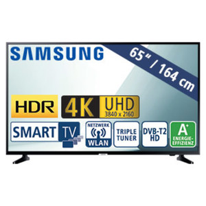 "65""-Ultra-HD-LED-TV UE65NU7099 HbbTV, H.265, HDR, Quad-Core, 2 HDMI-Eingänge, USB-/CI+-Anschluss, 20 Watt RMS, Stand-by: 0,5 Watt, Betrieb: 118 Watt, Maße: H 83,7 x B 145,8 x T 5,9 cm, Energie-Effi"