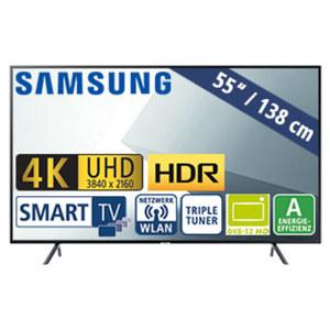 """55""""-Ultra-HD-LED-TV UE55NU7179 HbbTV, H.265, HDR, Quad-Core, 3 HDMI-/2 USB-Anschlüsse, CI+, 20 Watt RMS, Stand-by: 0,5 Watt, Betrieb: 105 Watt, Maße: H 71,4 x B 123,9 x T 5,9 cm, Energie-Effizienzk"""