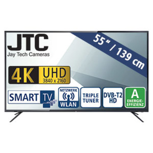 "55""-Ultra-HD-LED-TV Atlantis 5.5 UHD Smart H.265, 3 HDMI-/USB-Anschlüsse, CI+, Stand-by: 0,5 Watt, Betrieb: 109 Watt, Maße: H 72,2 x B 124,4 x T 9,7 cm, Energie-Effizienzklasse A (Spektrum A++ bis"