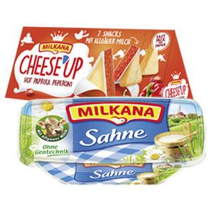 Milkana Frischeschale oder Milkana Cheese´Up Schmelzkäsezubereitung, 50/45 % Fett i. Tr., versch. Sorten, jede 200/123-g-Packung