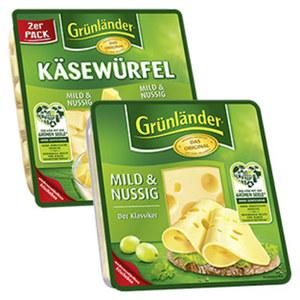 Grünländer Scheiben oder Käsewürfel Deutscher Hart- und Schnittkäse, 48 % Fett i. Tr./17 % Fett absolut, versch. Sorten, jede 150/140/130/120/110/100-g-Packung