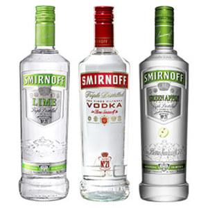 Smirnoff Vodka 37,5 % Vol., versch. Sorten,  jede 0,7-l-Flasche, ab 3 Flaschen je