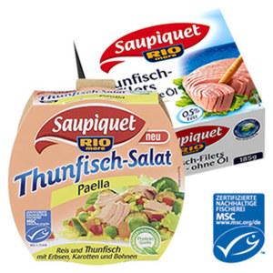 Saupiquet Thunfisch-Filets oder MSC Salate versch. Sorten, jede 160/185-g-Dose /2 x 80-g-Packung/112/104/130 g Abtropfgewicht
