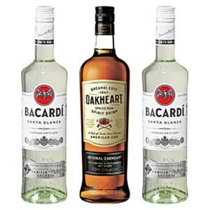 Bacardi Rum Carta Blanca oder Oakheart 37,5/35 % Vol.  und weitere Sorten, jede 0,7-l-Flasche, ab 3 Flaschen je