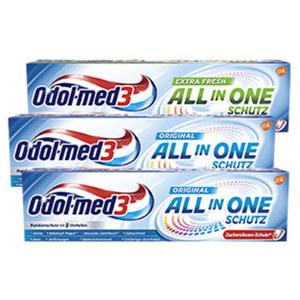 Odol-med3 Zahncreme All in one Schutz versch. Sorten, jede 75-ml-Packung, ab 3 Stück je