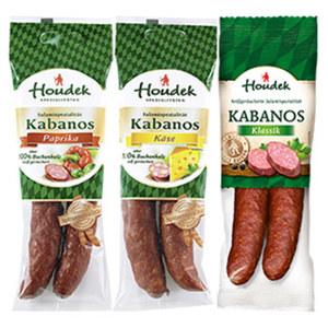 Houdek Kabanos Klassik, Käse oder Paprika 150-g-SB-Packung, ab 3 Packungen je