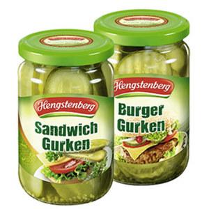 Hengstenberg Burgergurken oder Sandwichgurken jedes 370-ml-Glas/185 g Abtropfgewicht