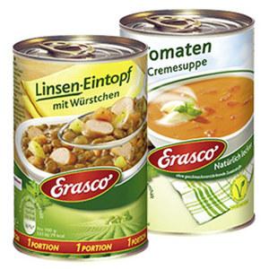 Erasco 1 Portion Linseneintopf oder Tomatencremesuppe und weitere Sorten, jede 400g/390-ml-Dose