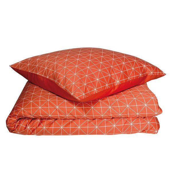 Bettwäsche Grid Baumwollstoff Orange Cremeweiß 155 X 220 Cm
