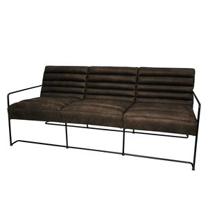 Sofa Voda I (3-Sitzer) - Antiklederlook - Braungrau, ars manufacti