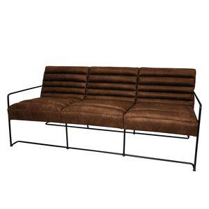 Sofa Voda I (3-Sitzer) - Antiklederlook - Mittelbraun, ars manufacti