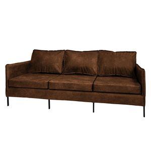 Sofa Southwell (3-Sitzer) - Antiklederlook - Mittelbraun, ars manufacti