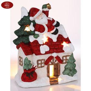 Magnesium-Deko-Haus 37cm mit Weihnachtsmann