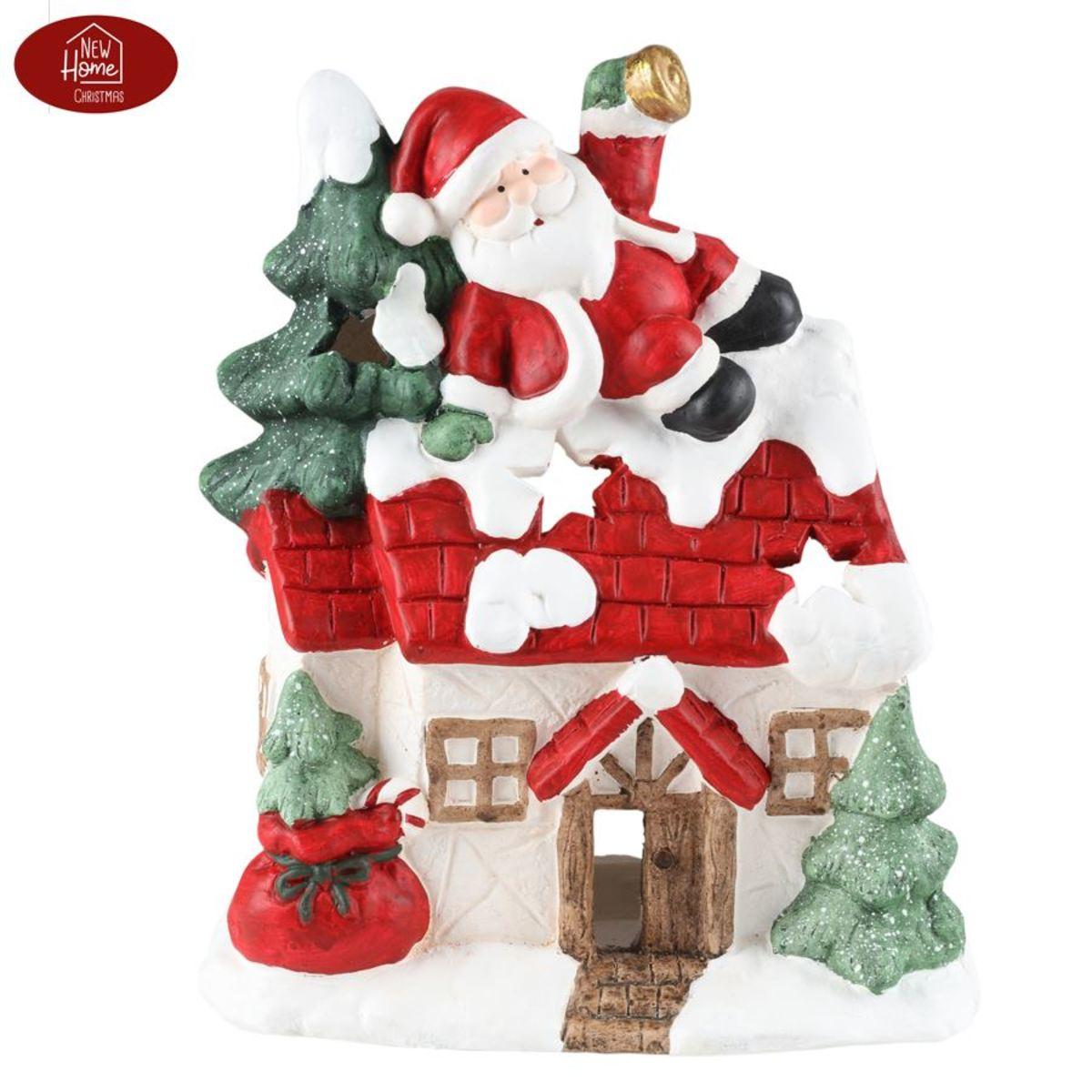 Bild 2 von Magnesium-Deko-Haus 37cm mit Weihnachtsmann