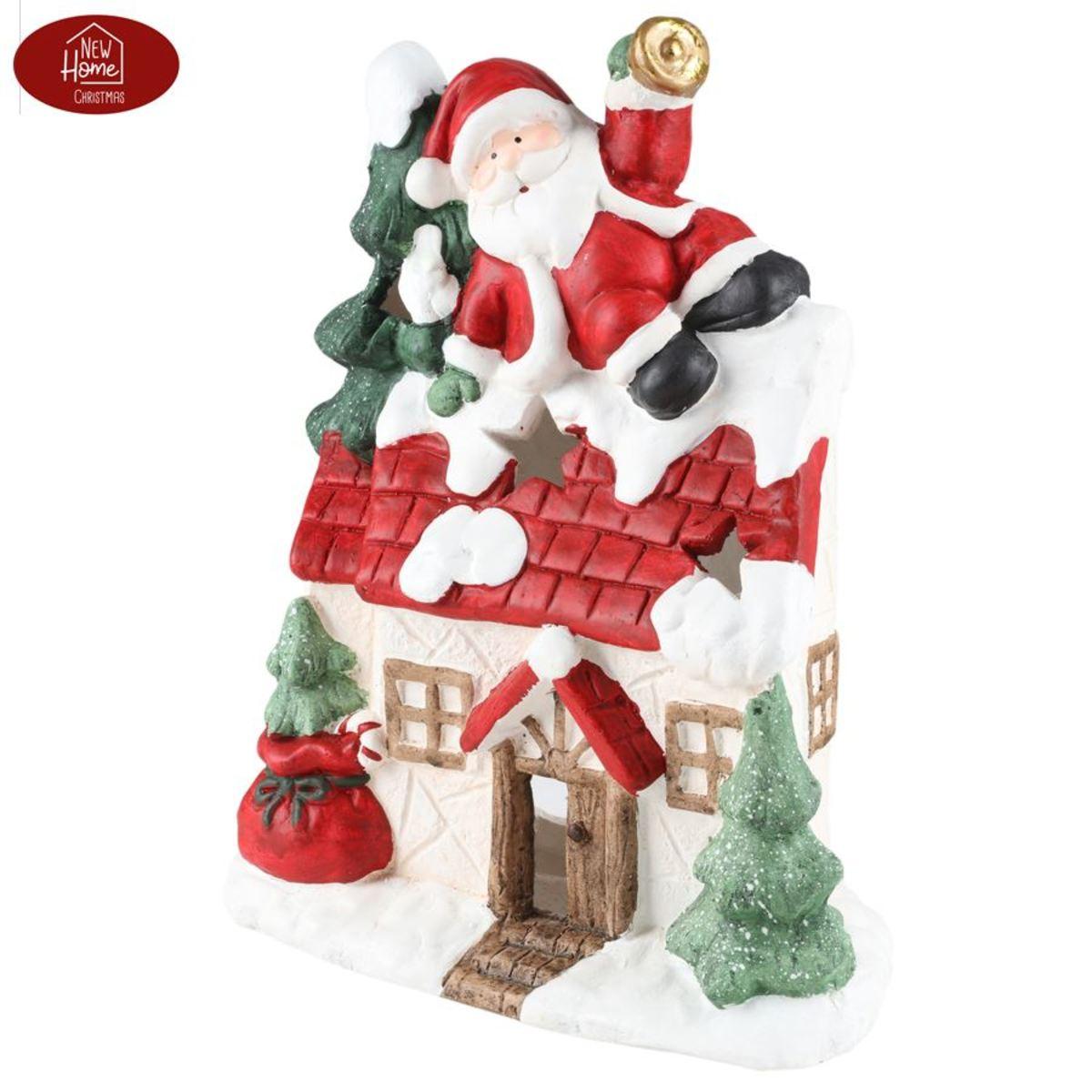 Bild 3 von Magnesium-Deko-Haus 37cm mit Weihnachtsmann