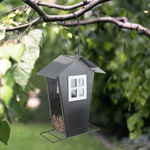 Vogelfutterhaus aus Metall 15,5x22x11cm Schwarz