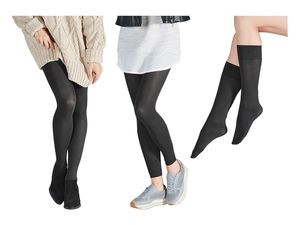 ESMARA® Damen Leggings/ Strumpfhose/ 2 Paar Kniestrümpfe
