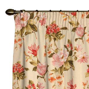 Vorhang mit Kräuselband - Blumen groß Beige - 130x260 cm, Dekoria