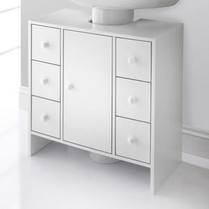 Waschbeckenunterschrank mit 1 Tür und 6 Schubladen weiß 60 x 30 x 60 cm