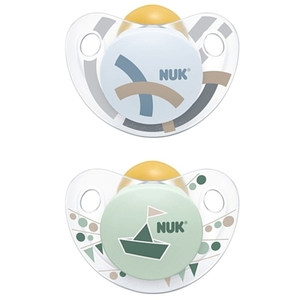 NUK - Schnuller Latex 2er Pack Trendline blau/grün Gr.3