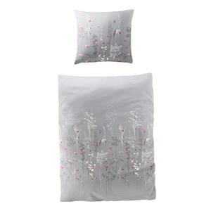 Mako-Satin-Bettwäsche Blumensträucher (135x200, grau)