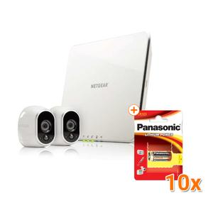 Arlo VMS3230 Smart Home 2-HD-Kamera-Sicherheitssystem, weiß [Gratis zusätzliche 10 Panasonic Lithium Photo Power 3V Batterien]