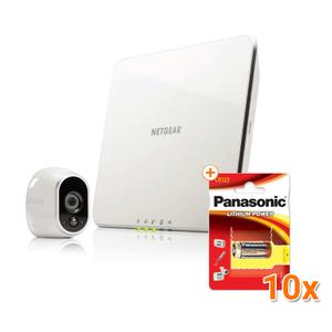 Arlo VMS3130 Smart Home 1-HD-Kamera-Sicherheitssystem, weiß [Gratis zusätzliche 10 Panasonic Lithium Photo Power 3V Batterien]