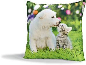 Dekor Dekokissen mit Tiermotiven - Hund und Katze