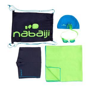 Schwimm-Set B-Active+ Jungen blau: Badehose, Brille, Badekappe, Badetuch, Tasche