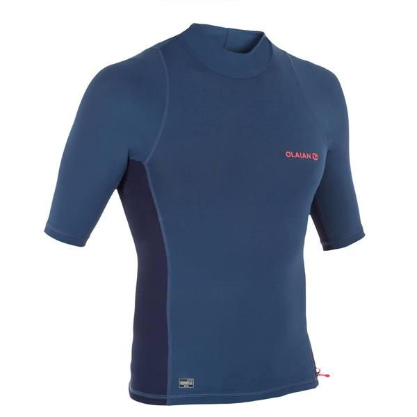 UV-Shirt Surfen Top 500 kurzarm Herren blaugrau