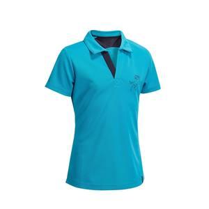 Reit-Poloshirt kurzam PL500 Mesh Kinder türkis