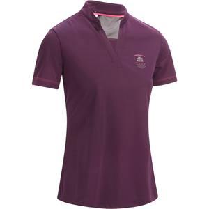 Reit-Poloshirt kurzam 500 Mesh Damen violett/grau