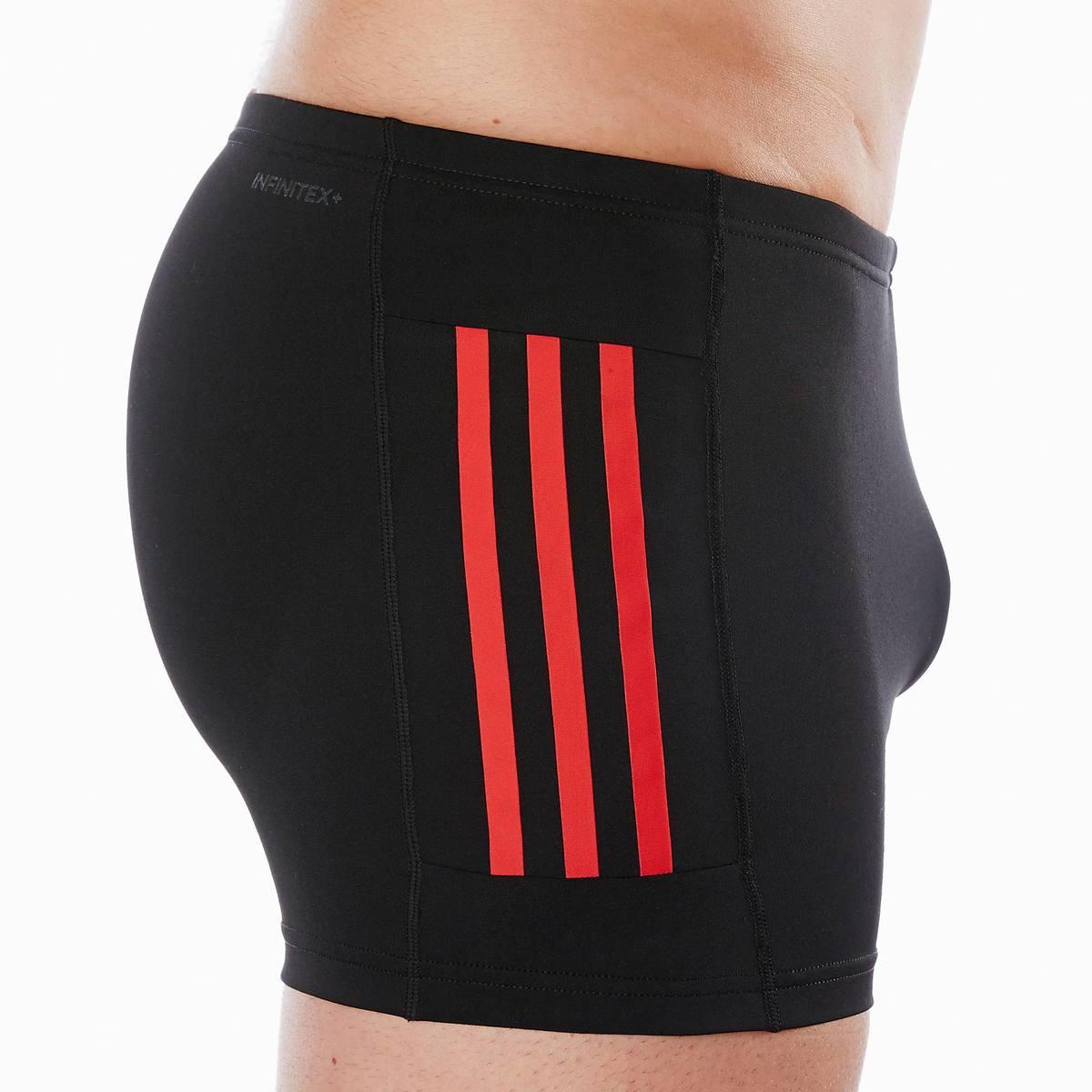 Bild 4 von Badehose Boxer 3 Streifen Herren schwarz/rot